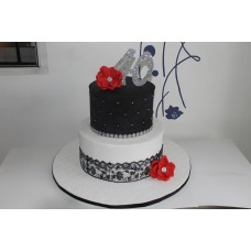 Two tier fondant cake with topper