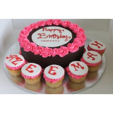 "8"" sponge cake with (6 cupcakes)"