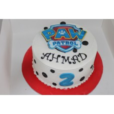Double Height Paw Patrol cake with buttercream and edible