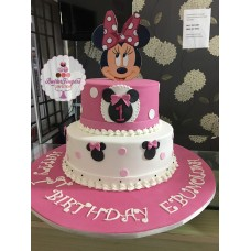 "(6/10)"" Two tier round fondant cake with edible picture"